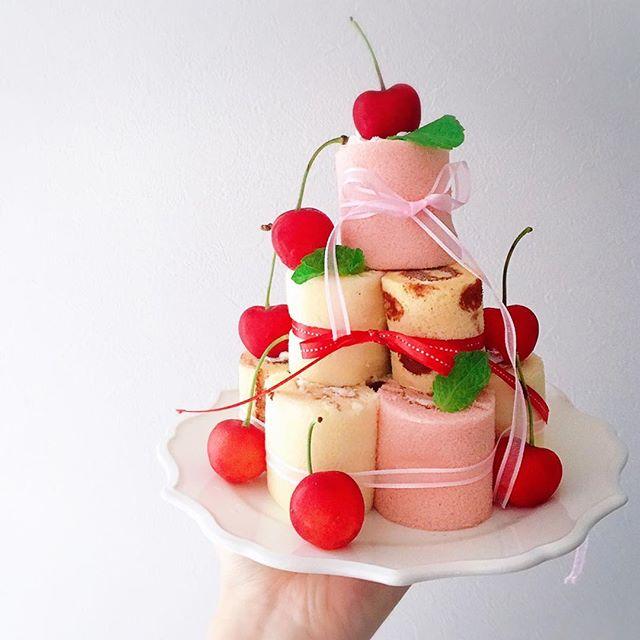 誕生日ケーキに簡単レシピ!ロールケーキタワー