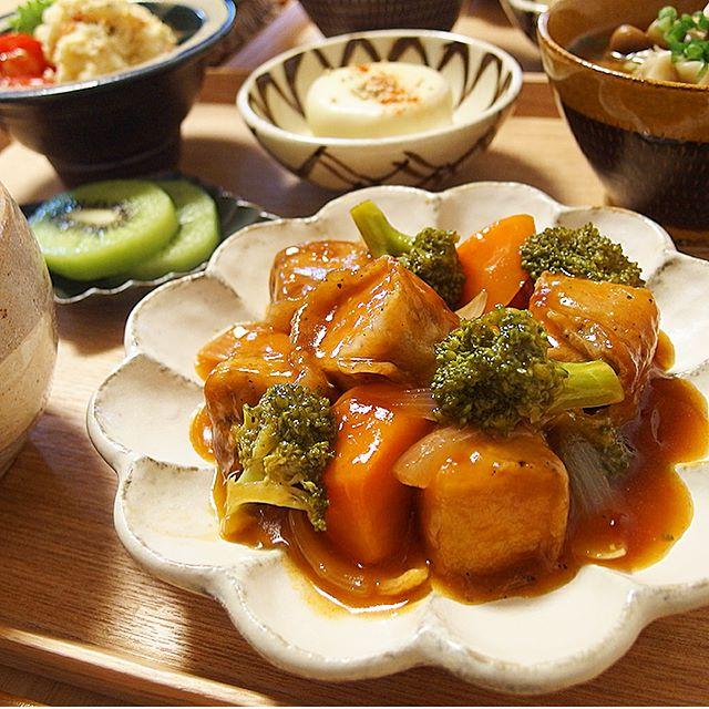 ポテトサラダの献立に合うレシピ!厚揚げの酢豚風