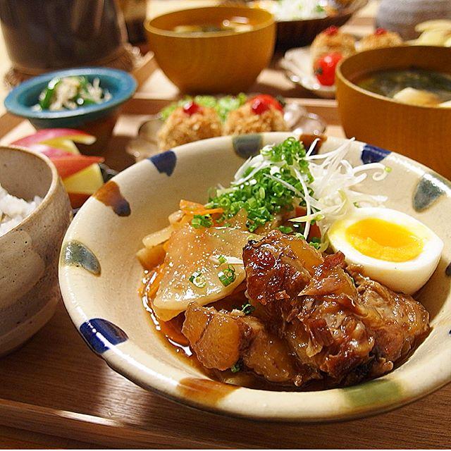 芋焼酎におすすめ料理!豚軟骨と根菜照り煮