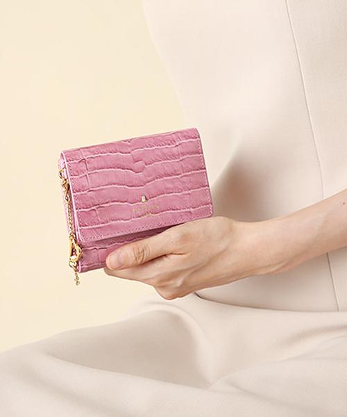 クロコ型押しレディース二つ折り財布