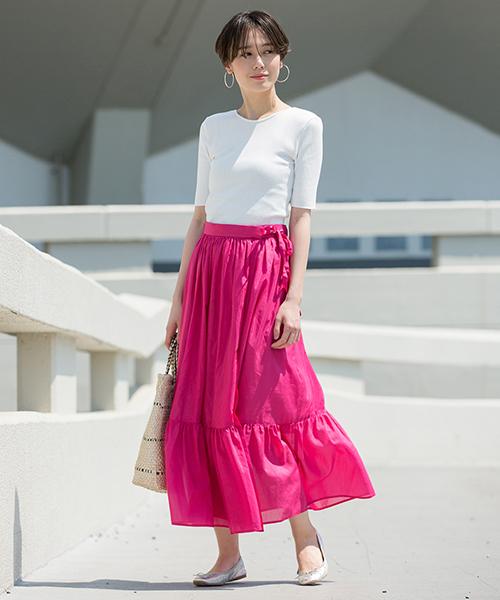 [ADAM ET ROPE'] コットンシルクギャザースカート