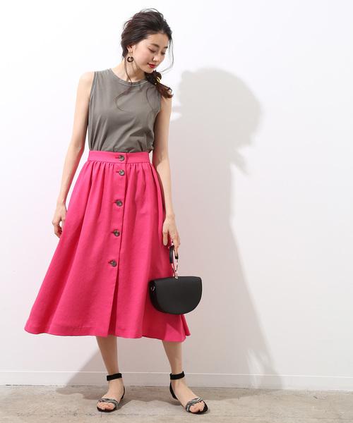 [ROPE'] フロントボタンギャザースカート