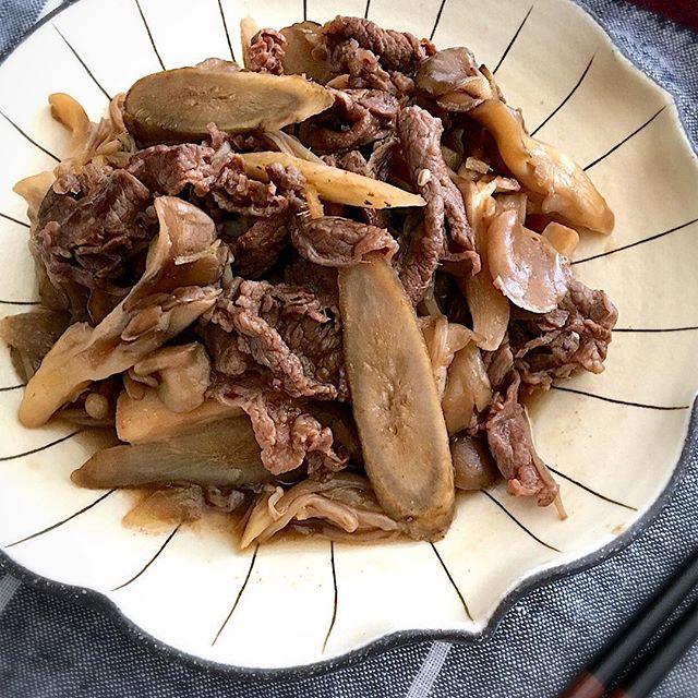 きのこの旨味が効いた牛肉とごぼうのしぐれ煮