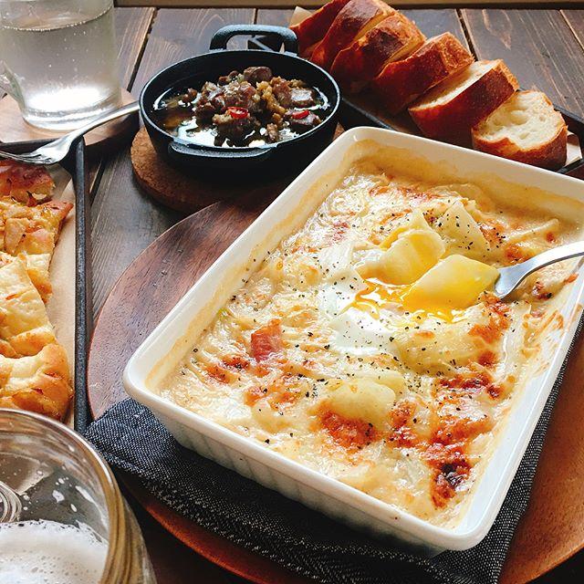 美味しいメイン料理!白菜とベーコンのクリーム焼き