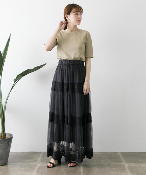 [URBAN RESEARCH] チュール×アンティークレースティアードスカート