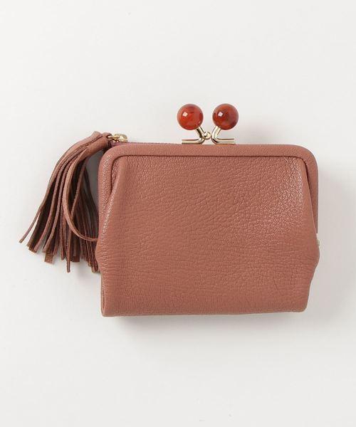 アクリル玉がま口二つ折り財布