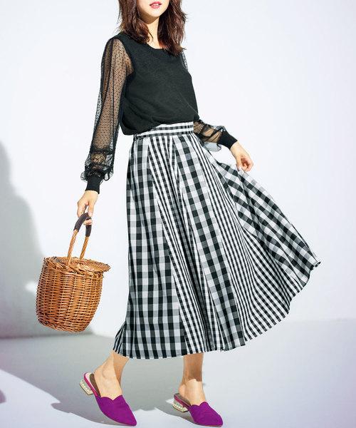 [GeeRA] チェックプリント切替スカート