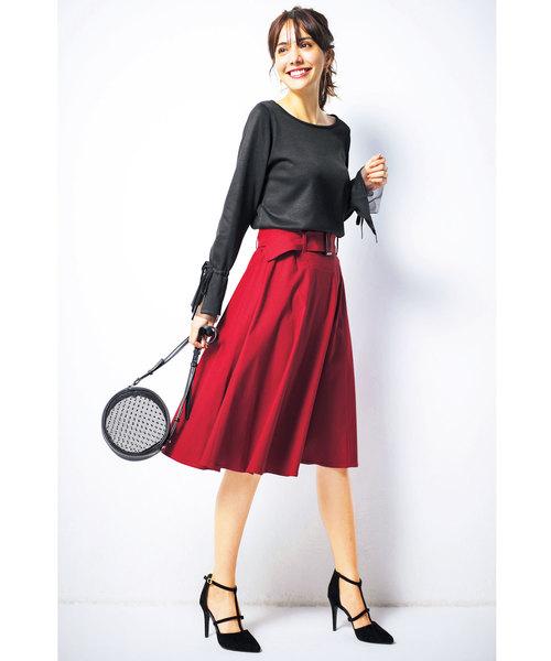 [GeeRA] 嬉しい機能付!ベルト付美ラインフレアースカート