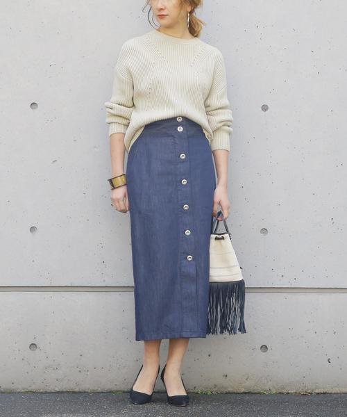 [Liesse] フロントボタンハイウエストスカート