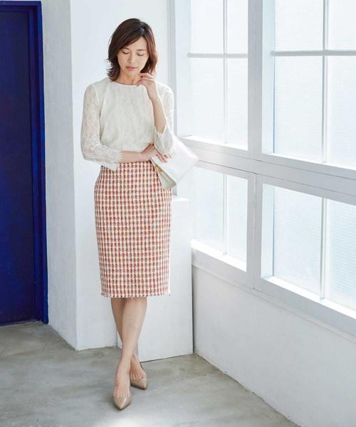 [ROPE'] 【ドラマ着用】【セットアップ対応】チェックツイードフリンジスカート