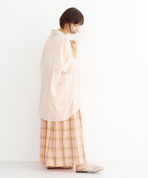 [merlot] チェック柄マキシスカート1750