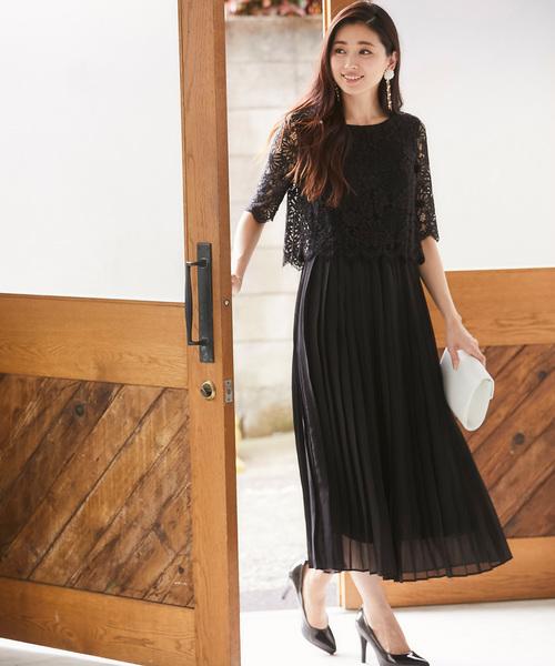 [SMILE ORCHID] レースプリーツワンピースドレス