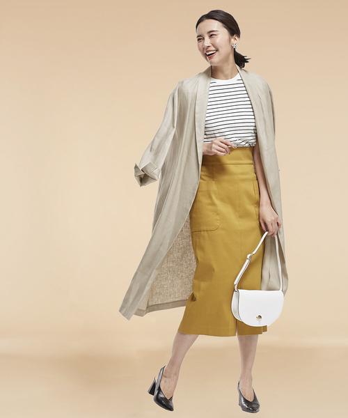 リネンショールコート×タイトスカート
