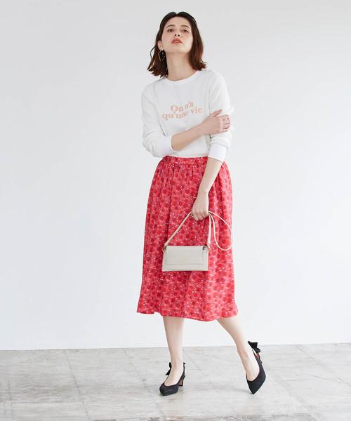 [ROPE'] バックサテンパネルギャザースカート