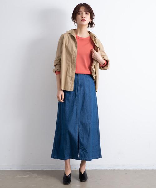 [YARD PLUS/AUNT MARIE'S] AUNT MARIE'S デニムツイルロングタイトスカート