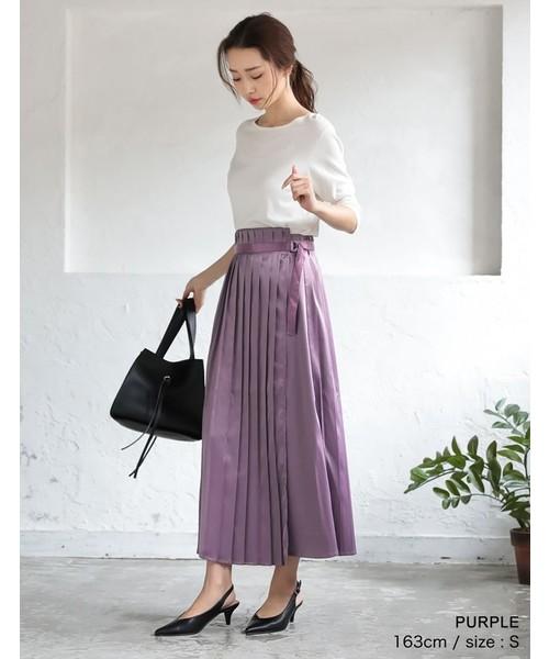 [Re:EDIT] 切り替えサテンプリーツスカート