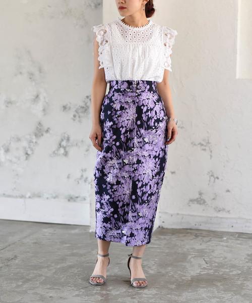 [LHELBIE] フラワーラメフロントジップタイトスカート