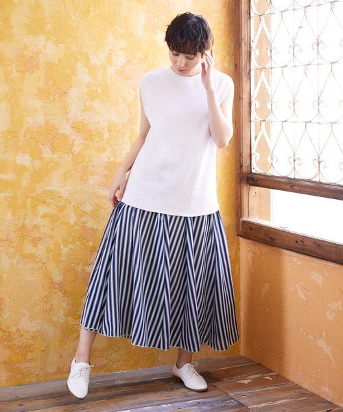 [Chaco closet] ストライプギャザーフレアロングスカート