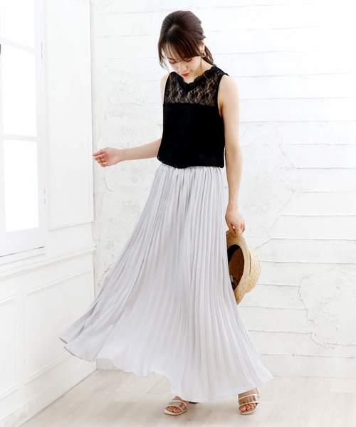[Doula Doula] 花柄 ロングプリーツスカート