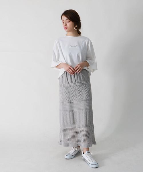 [HER CLOSET] 【vingtrois】【ワンマイルウェア】【おうちリラックス】ジャパンメイドミックスパターン透かし編みニットロングスカート