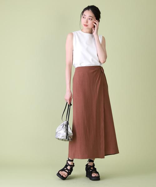 [FREAK'S STORE] リネンレーヨンラップスカート(リネンスカート、リネン混スカート)