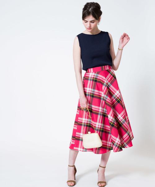 [allureville] ビックチェックラップフレアスカート
