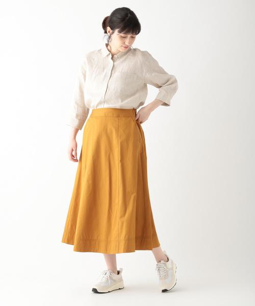 [studio CLIP] コットンリヨセルツイルセミフレアスカート