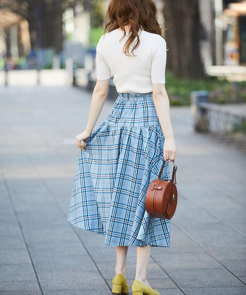 [tocco closet] ウエストラップチェックロングスカート