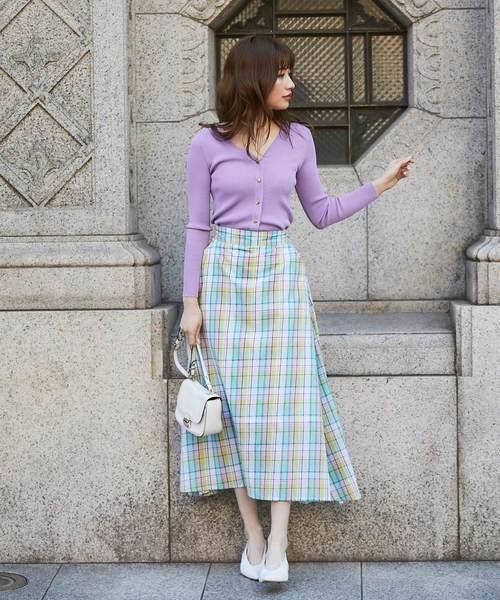 [tocco closet] マドラスチェック切替ロングスカート