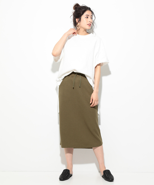 [ViS] 【WEB限定】ワッフルタイトスカート