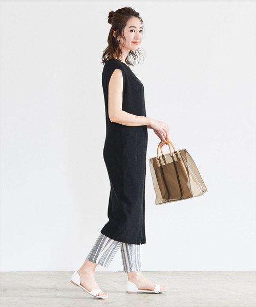 大人っぽいファッション◎タイトワンピ×麻混パンツ