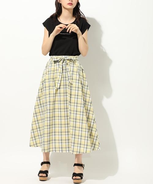 [Honeys] 共リボン付フレアスカート