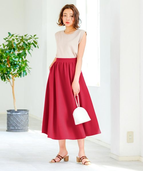[kobelettuce] エンボスフレアギャザーロング丈スカート