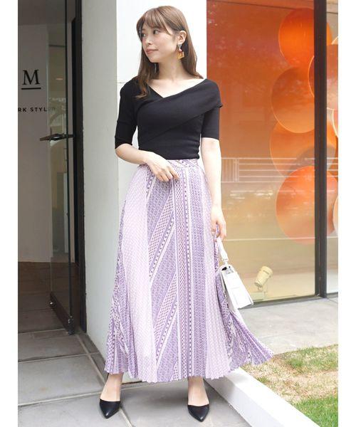 [MERCURYDUO] 小紋柄ペイズリープリーツスカート