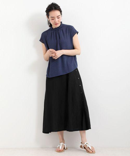 [LA MARINE FRANCAISE] リネンレーヨン脇釦スカート