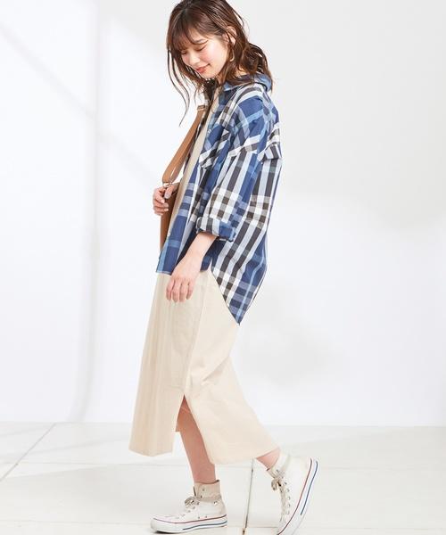 [natural couture] エスニックベルト付きTワンピース