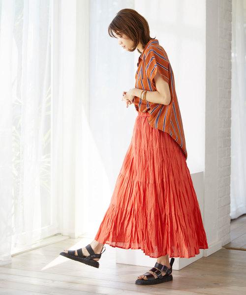 [Chaco closet] インド綿ティアードロングスカート