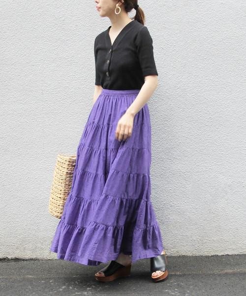 [ADAM ET ROPE'] 【WEB限定】ボイルティアードマキシスカート