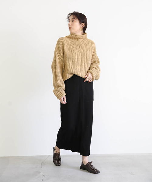 [select MOCA] ベイカースカート/ウエストゴムサイドポケットニット生地シンプル無地タイトスカート