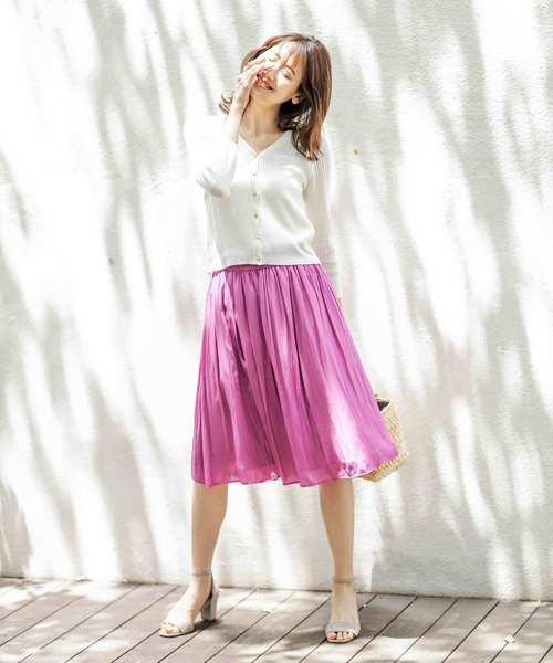 [12Twelve Agenda] 割繊デシンウエストギャザースカート
