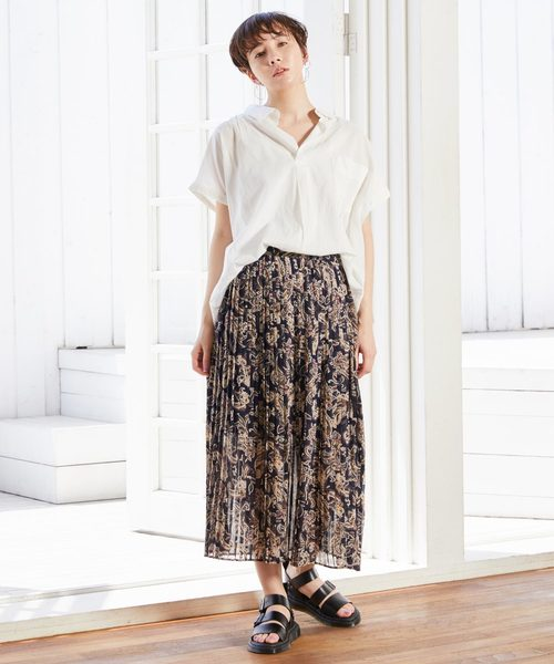 [Chaco closet] ペイズリー柄ロングスカート/プリーツ フレア