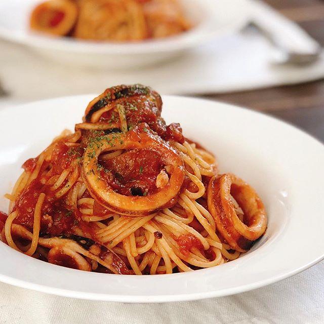 簡単レシピ!イカのトマトソーススパゲティ