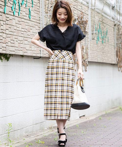 [ketty online store] 【WEB別注】ストレッチチェックペンシルスカート