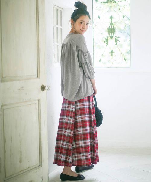 [Ranan] 綿100%チェック柄マキシスカート