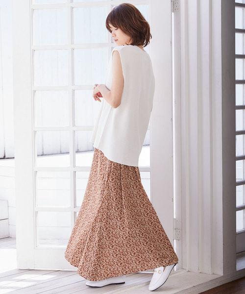 [Chaco closet] 小花柄フレアロングスカート