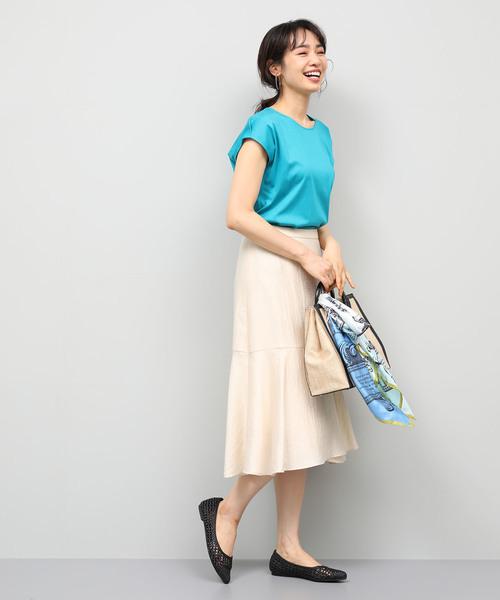 コットンスムースTシャツ×フレアスカート