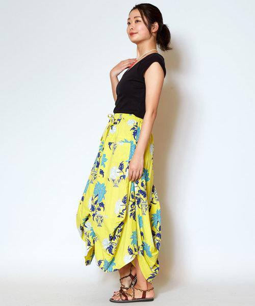 [チャイハネ] 【チャイハネ】yul オリエンタルフラワー変形バルーンスカート