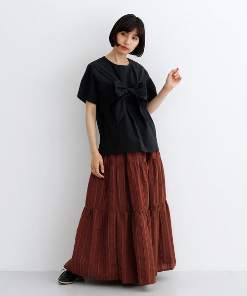 [merlot] ストライプティアードスカート1898