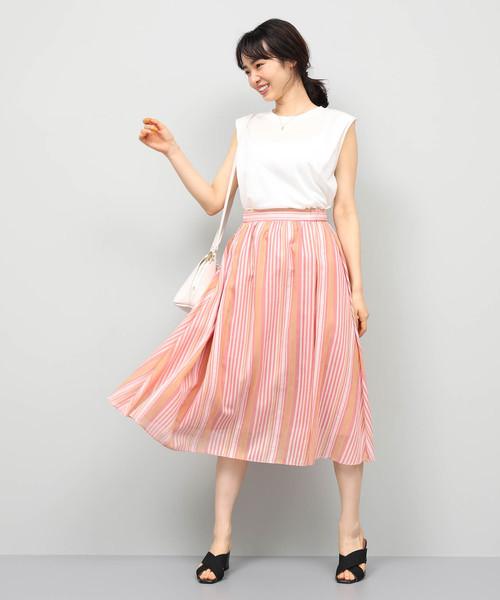 [ROPE'] ラメギャザーストライプギャザースカート