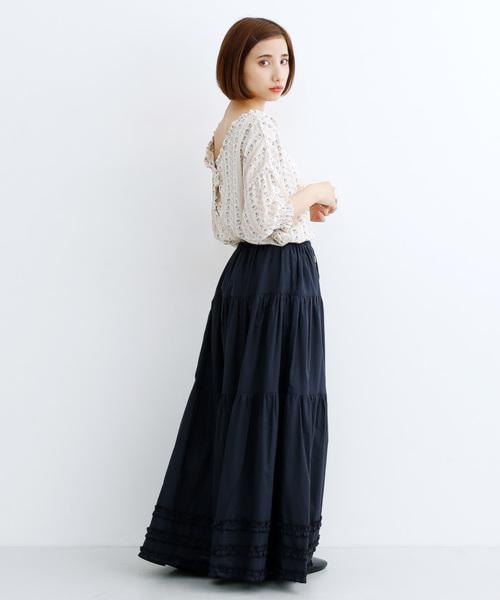 コットンギャザースカートのコーデ